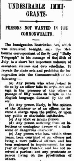 an abolition of the immigration act or white australia policy In 1973 the new whitlam government took the final steps to dismantle the 'white australia' policy and remove race as a factor in australia's immigration provisions.