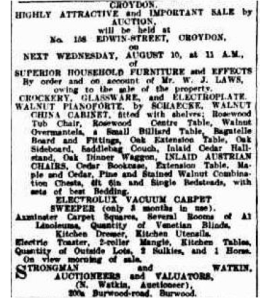 moving on - house sale in 1927 Sydney