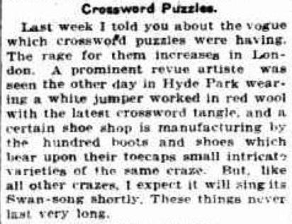 Crossword craze