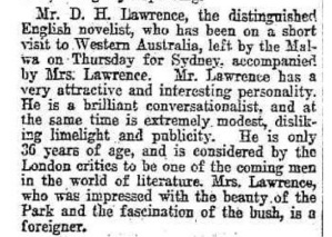 DH Lawrence in WA 1922