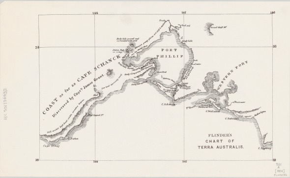 Flinders' map of Port Phillip Bay