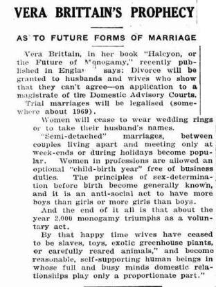 Vera Brittain on marriage futures