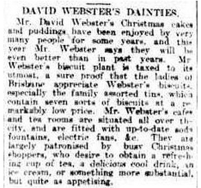 David Webster's Dainties - 1912