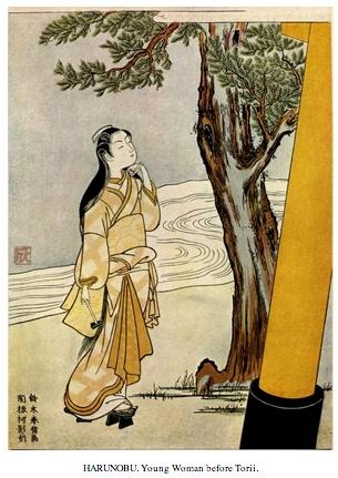 Harunobu - Young Woman before Torii