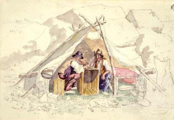 Two men in a tent