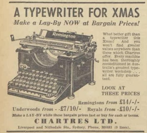 AWW - 5 Nov 1938 - typewriter ad