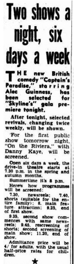 Drive in program 17 Feb 1954